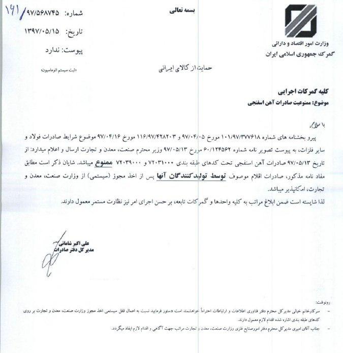 Export laws of sponge iron of Iran